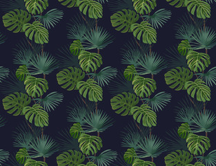 Fototapeta Do sypialni Seamless pattern with exotic tropical leaves. Vector background.