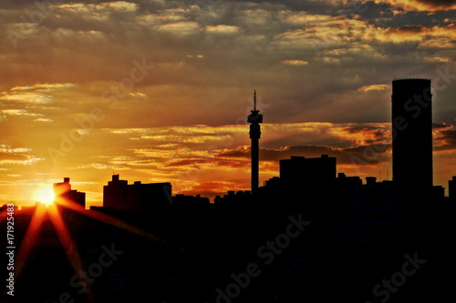 Silhouette view of the Johannesburg skyline at sunset