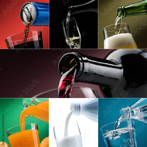 Fotografie, Obraz  Pouring drinks into glasses photo collection
