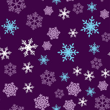 Purple Snowflakes Christmas Seamless Pattern