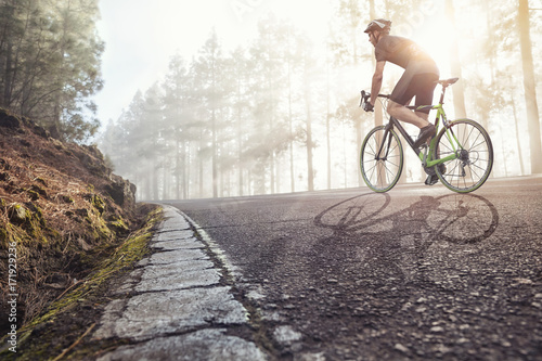 Aluminium Prints Cycling Fahrradfahrer auf einer Straße im nebligen Wald