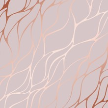 Rose Gold. Decorative Vector Pattern With Floral Elements