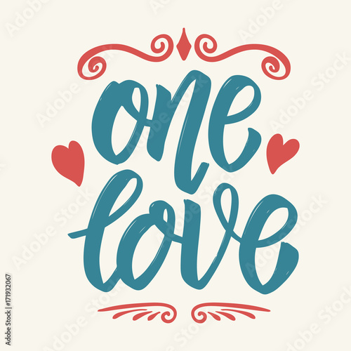 One love. Hand drawn lettering isolated on white background. Canvas Print