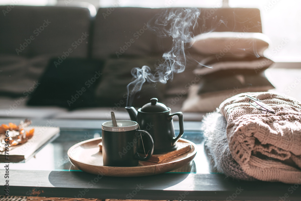 Fototapety, obrazy: Tea with steam in room in morning sunlight