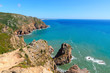 """View from Cabo da Roca (Cape Roca), the westernmost point of Portugal and continental Europe, """"where the land ends and the sea begins"""". Beautiful landscape background near Sintra."""