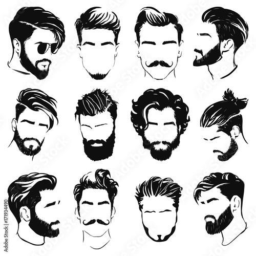 Fototapeta Ilustracja wektorowa sylwetki mężczyzn fryzurę
