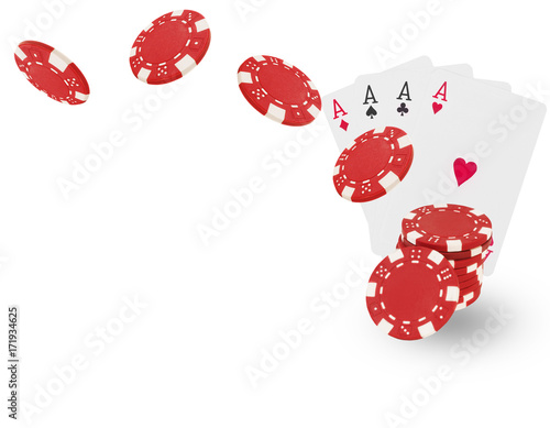 фотография  Playing chips flying at the white background