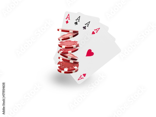 Платно  Playing chips flying at the white background