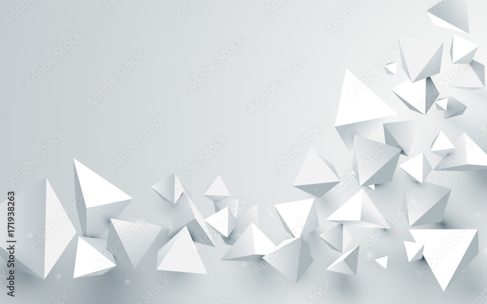 Fototapeta Abstract white 3d pyramids chaotic background. Vector illustration