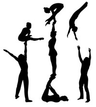 Acrobatic Stunt. Gymnasts Acrobats Vector Black Silhouette. Gymnasts Acrobats Vector