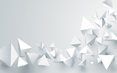 FototapetaAbstract white 3d pyramids chaotic background. Vector illustration