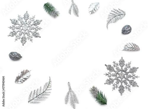 Fotografie, Obraz  Decorative Christmas composition on white background.