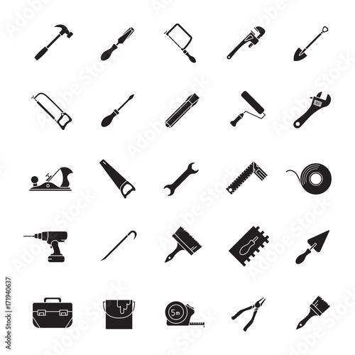 Fototapeta Construction tools glyph icons set obraz na płótnie