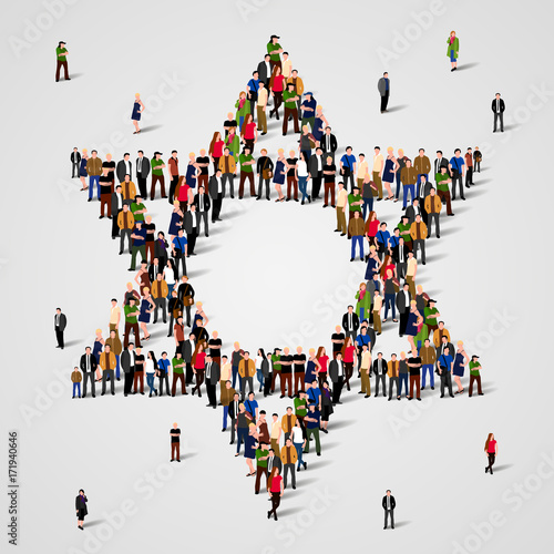 Fotografía Large group of people in the Star of David shape