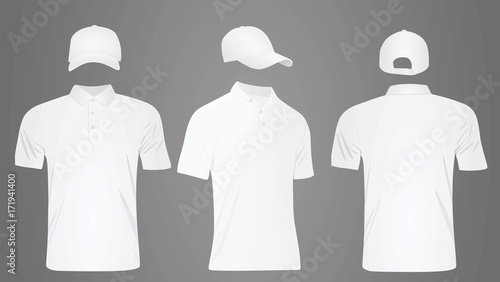 White polo t shirt and baseball cap template. vector illustration ...