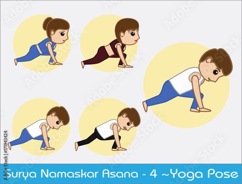Yoga Cartoon Vector Poses Surya Namaskar Step 4 Buy This Stock Vector And Explore Similar Vectors At Adobe Stock Adobe Stock