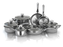 Pots And Pans. Set Of Cooking Stainless Steel Kitchen Utensils And Cookware
