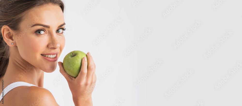 Fototapeta Perfect woman with apple