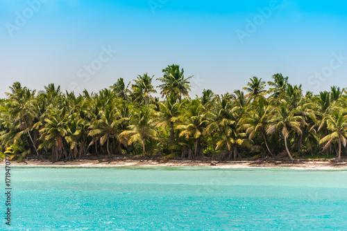 Foto op Plexiglas Caraïben Sand beach in Bayahibe, La Altagracia, Dominican Republic. Copy space for text.