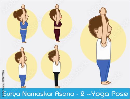 Yoga Cartoon Vector Poses Surya Namaskar Step 2 Buy This Stock Vector And Explore Similar Vectors At Adobe Stock Adobe Stock