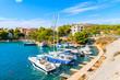Sailboats in small port between Sibenik and Primosten towns, Dalmatia, Croatia