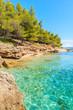 Beautiful turquoise sea water on small beach on coast of Brac island near Bol town, Croatia