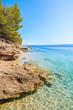 Beautiful beach on coast of Brac island near Bol town, Croatia