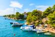 Sailboats in beautiful sea bay between Sibenik and Primosten towns, Dalmatia, Croatia