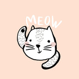 Cute cat illustration with text meow. Hand drawn with brush and ink creative kids print. Perfect for apparel, nursery decoration, cards, posters - 171956477