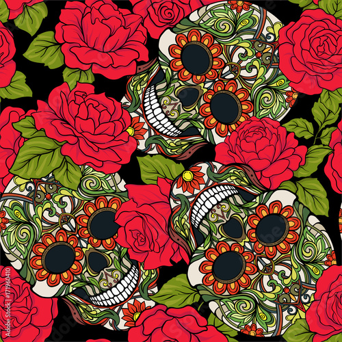 Seamless Pattern Background With Sugar Skull And Red Roses