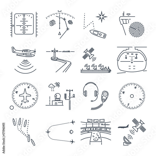 set of thin line icons sea and air navigation, piloting, equipment, devices Wallpaper Mural