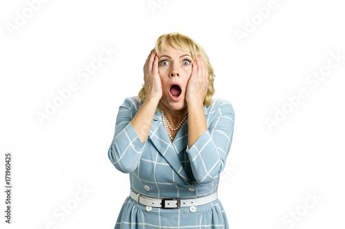 Valokuvatapetti Portrait of woman in great shock