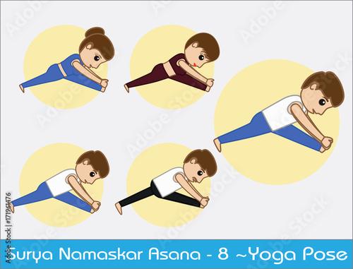 Yoga Cartoon Vector Poses Surya Namaskar Step 8 Buy This Stock Vector And Explore Similar Vectors At Adobe Stock Adobe Stock
