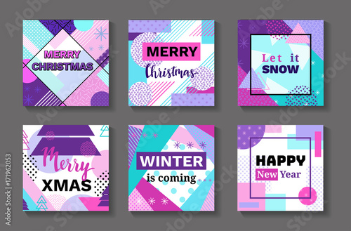 90s Christmas Background.Merry Christmas Geometric Greeting Cards Set In Trendy Memphis 90s