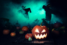 Scary Pumpkin With Green Mist ...
