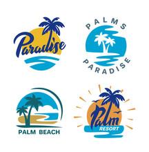 Palm Trees Round Emblems