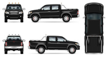 Black Pickup Truck Vector Mock Up For Car Branding And Advertising. Pick Up Car Template On White. Elements Of Corporate Identity. All Layers And Groups Well Organized For Easy Editing And Recolor.