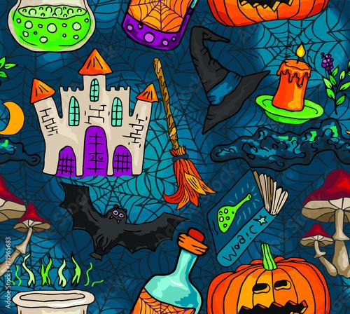Fototapeta Wektorowy bezszwowy wzór z ikonami dla Halloween. Ręcznie rysowane doodle dyni, drzewo, pajęczyna, mikstury, książki, grzyby, miotła, zamek.