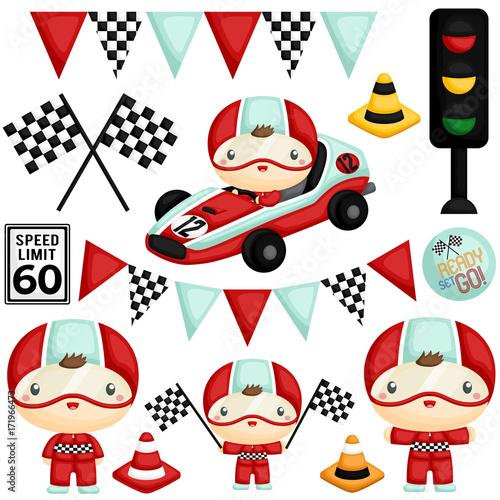 Vászonkép Cute Racer Boy