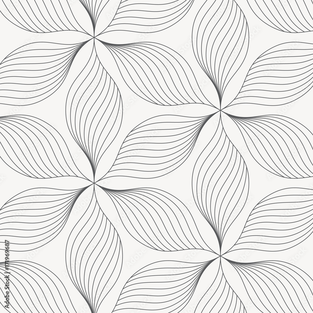 Fototapety, obrazy: linear vector pattern, repeating abstract leaves, gray line of leaf or flower, floral. graphic clean design for fabric, event, wallpaper etc. pattern is on swatches panel.