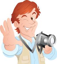 Male Cartoon Photographer - Cl...