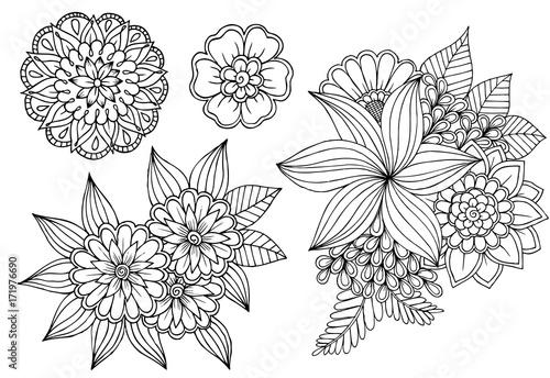 Fototapeta Black and white set of doodle flower elements for design or coloring obraz na płótnie