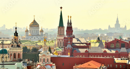 Foto op Canvas Moskou Aerial view of a popular landmark, Kremlin, Moscow, Russia during the day.