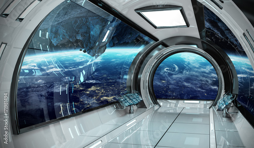 Spaceship interior with view on Earth 3D rendering elements of this image furnis Fototapeta