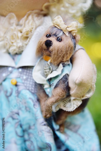 Fototapety, obrazy: toy dog in the hands of dolls close-up