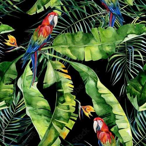 papugi-na-lisciach-na-czarnej-scianie