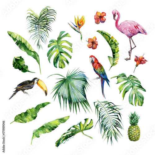 Photo  Watercolor illustration of tropical leaves,flamingo bird and pineapple