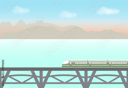 Tuinposter Lichtblauw High speed train passing through the lake and mountain, nature background