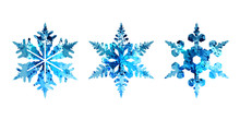 Vector Watercolor Silhouettes Of Snowflakes