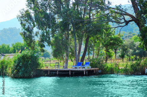 Fototapety, obrazy: Beautiful view of small berth and river on sunny summer day